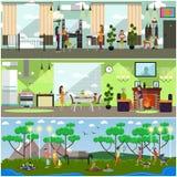 Wektorowy ustawiający macierzyści pojęcie plakaty, sztandary w mieszkaniu projektuje ilustracji