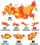 Wektorowy ustawiający mapy i flaga kraje azjatyccy z administracyjnych podziałów regionów granicami ilustracji