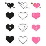 Wektorowy Ustawiający miłość ikony Różni serce kształty ilustracji
