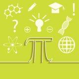 Wektorowy ustawiający mieszkanie linia infographic nauka Inspiraci, pomysłu i odkrycia temat, Pi symbolu pojęcie royalty ilustracja