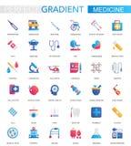 Wektorowy ustawiający modne płaskie gradientowe Medyczne i opieka zdrowotna ikony royalty ilustracja