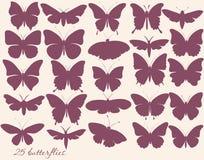 Wektorowy ustawiający motyl sylwetki Zdjęcie Royalty Free