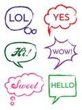 Wektorowy ustawiający mowa gulgocze w komiczka stylu Wręcza rysującego set dialog okno z zwrotami Cześć, Cześć, Tak, no! no! royalty ilustracja