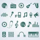 Wektorowy ustawiający muzyczne ikony ilustracja wektor
