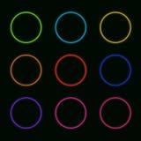 Wektorowy Ustawiający Neonowi okręgi: Tęcza Barwi Round kształtów Jarzyć się ilustracji