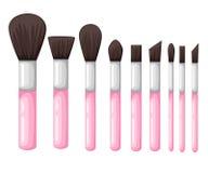 Wektorowy ustawiający od makeup szczotkuje różne formy Zdjęcie Stock