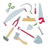 Wektorowy ustawiający odosobneni pracujący narzędzia Obrazy Stock