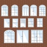 Wektorowy ustawiający okno Kolekcja stylizowany wnętrze ilustracji