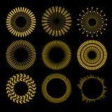 Wektorowy Ustawiający okregów Geometryczni ornamenty Ornamentacyjny Round wystrój projektuje śmiesznego wizerunku setu słońce twó royalty ilustracja