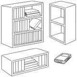 Wektorowy ustawiający półka na książki ilustracja wektor