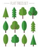 Wektorowy ustawiający płascy drzewa Zdjęcie Royalty Free