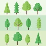 Wektorowy ustawiający płascy drzewa Zdjęcia Royalty Free