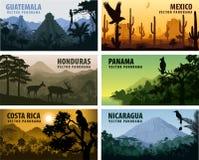 Wektorowy ustawiający panorams kraje Ameryka Środkowa, Gwatemala -, Meksyk, Honduras, Nikaragua, Panama, Costa Rica ilustracja wektor