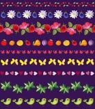 Wektorowy ustawiający piękni bezszwowi zespoły kwiaty, owoc, jagody, liście, ptaki, serca i motyle, ilustracja wektor