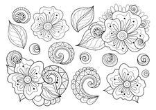 Wektorowy Ustawiający Piękni Monochromatyczni Kwiecistego projekta elementy z insektami royalty ilustracja