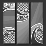 Wektorowy ustawiający pionowo monochromatyczni sztandary dla szachy ilustracja wektor