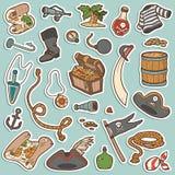 Wektorowy ustawiający pirat rzeczy, kolorów majchery Zdjęcia Stock