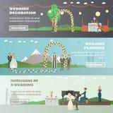 Wektorowy ustawiający poślubiać horyzontalnych sztandary w mieszkanie stylu ilustracja wektor