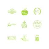 Wektorowy ustawiający produkt odznaki i etykietki zieleni i organicznie ilustracja wektor
