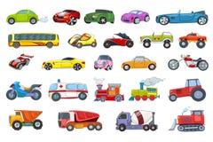 Wektorowy ustawiający przewiezionych pojazdów ilustracje royalty ilustracja