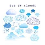 Wektorowy ustawiający różne chmury ilustracja wektor