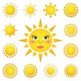 Wektorowy ustawiający różni słońca na białym tle Zdjęcie Royalty Free