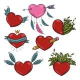 Wektorowy ustawiający różni Walentynek serca Obrazy Royalty Free