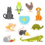 Wektorowy ustawiający różnorodni domowi zwierzęta domowe ilustracji
