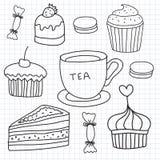 Wektorowy ustawiający ręka rysująca zasycha, cukierki, herbaciana filiżanka ilustracji