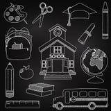 Wektorowy Ustawiający ręka Rysujący Chalkboard Doodle szkoły wektory ilustracja wektor