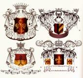 Wektorowy ustawiający ręka rysujący heraldyczni elementy Zdjęcia Royalty Free