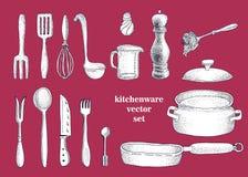 Wektorowy ustawiający ręka rysujący kitchenware ilustracji