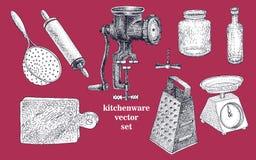 Wektorowy ustawiający ręka rysujący kitchenware royalty ilustracja