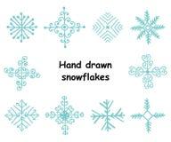 Wektorowy ustawiający ręka rysujący płatki śniegu Zdjęcie Royalty Free