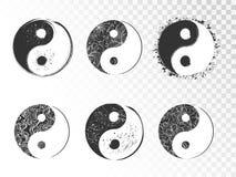 Wektorowy ustawiający ręka rysujący yin Yang podpisuje royalty ilustracja