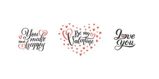 Wektorowy Ustawiający ręki literowania miłość frazuje tekst wyceny valentines dzień, miłości pojęcie, poślubia projekta szablon,  ilustracji