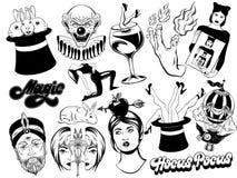 Wektorowy ustawiający ręki rysować ilustracje odgórni kapelusze, królik, ludzie i inny, ilustracja wektor