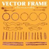 Wektorowy ustawiający ręki rysować kwieciste ramy, dekoracyjni elementy i ornamenty ciosowe i zaokrąglone Obraz Royalty Free
