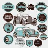 Wektorowy ustawiający retro etykietka samochody, odznaki i Obrazy Stock