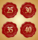 Wektorowy Ustawiający Rocznicowa Czerwona wosk foka 25th, 30th, 35th, 40th Zdjęcia Stock