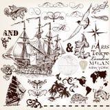 Wektorowy ustawiający roczników elementy na morskim temacie z statkiem i swi royalty ilustracja