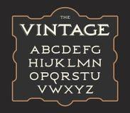 Wektorowy ustawiający roczników listy Retro łaciński abecadło Eleganci stary typeset Serif pisze list kolekcję ilustracja wektor