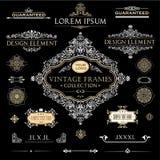 Wektorowy Ustawiający rocznik ramy i projektów elementy royalty ilustracja