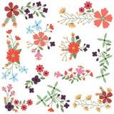 Wektorowy Ustawiający rocznika stylu kwiatu grona ilustracja wektor