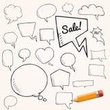 Wektorowy ustawiający rozmowy i myśli bąble z żółtym ołówkiem, grupa doodle mowy bąble Obrazy Royalty Free