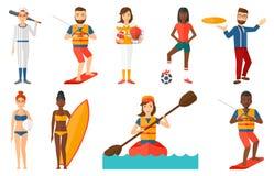 Wektorowy ustawiający sportów charaktery ilustracja wektor