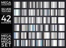 Wektorowy Ustawiający Srebni gradienty, srebro Obciosuje kolekcję, tekstury grupa ilustracji