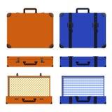 Wektorowy ustawiający stare walizki Brown i błękitna retro walizka ilustracja wektor