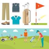Wektorowy ustawiający stylizowanego golfowego ikona hobby wyposażenia fury golfisty gracza sporta inkasowi symbole Fotografia Stock