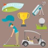 Wektorowy ustawiający stylizowanego golfowego ikona hobby wyposażenia fury golfisty gracza sporta inkasowi symbole Obraz Royalty Free